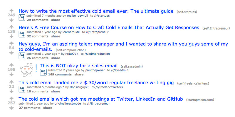 reddit cold email Gmail mail merge example image