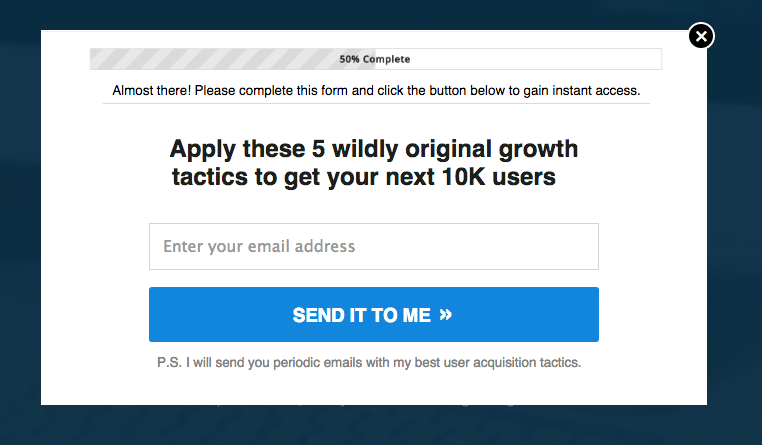 growth hacking tactics popup to grow email subscribers