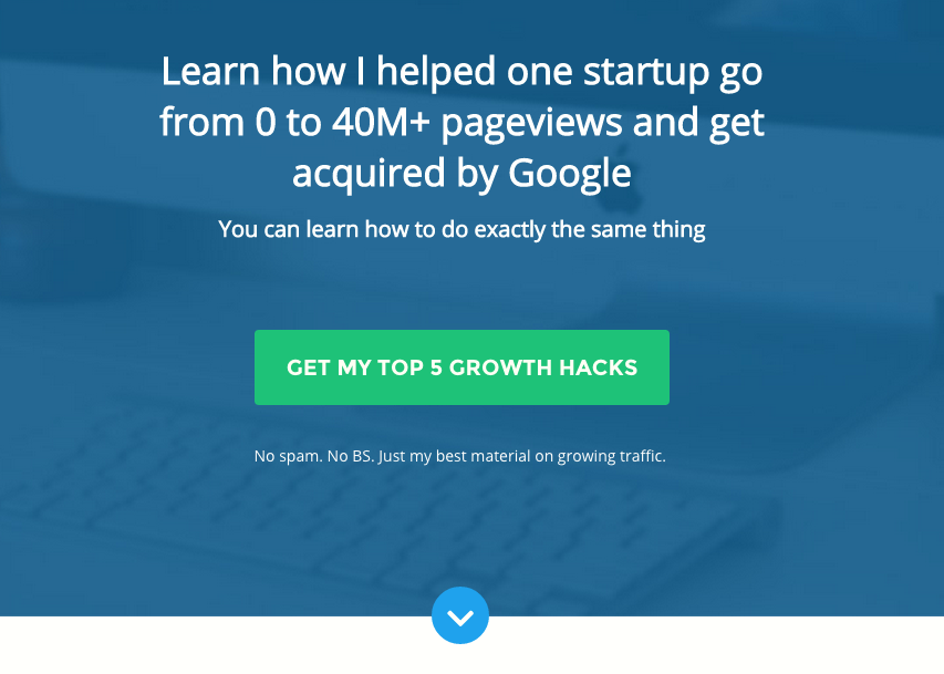 homepage to grow email subscribers