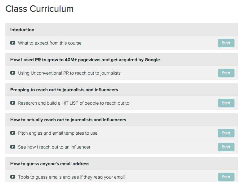 Screenshot of my course curriculum