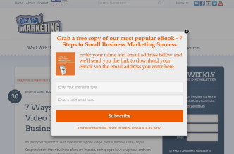 Example of pop-up from SumoMe