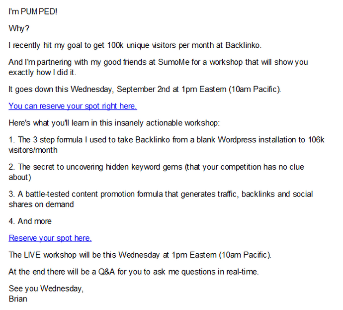 My email to my list to promote my webinar