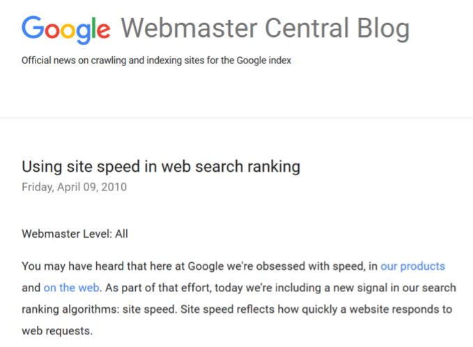 google sitespeed announcement