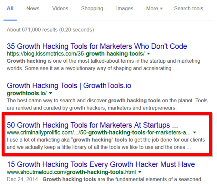 growth hacking tool result