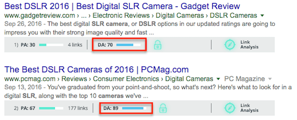 DA and search impact when you optimize for Google Rankbrain