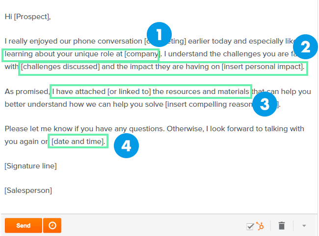 hubspot follow up business email template example