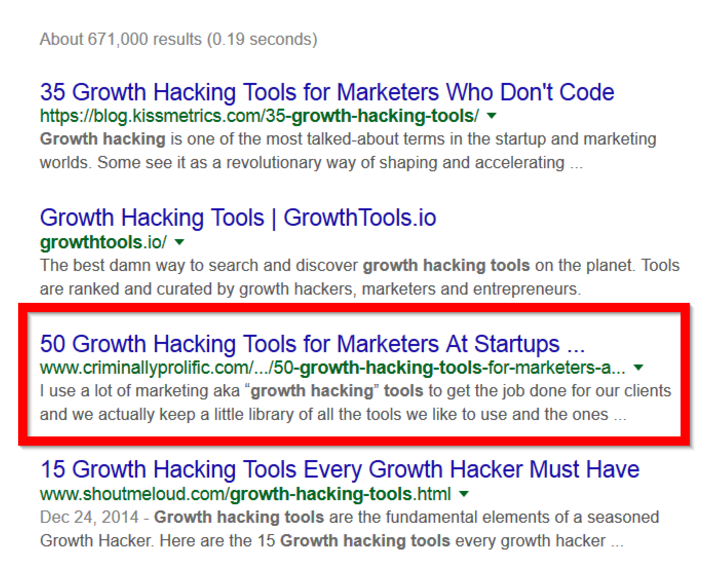 growth hacking tools result